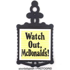 Vintage 70s funny retro McDonald's trivet wall art